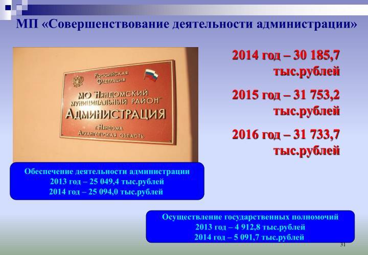 МП «Совершенствование деятельности администрации»