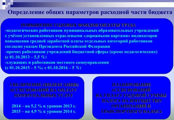 Определение общих параметров расходной части бюджета