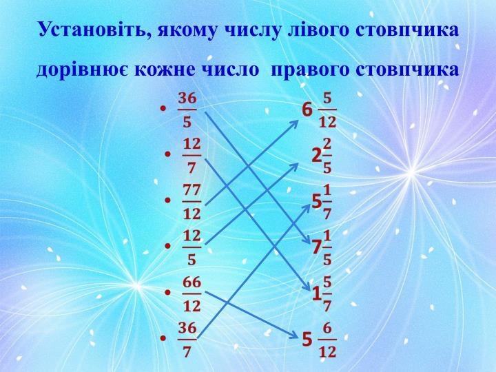 Установіть, якому числу лівого стовпчика дорівнює кожне число  правого стовпчика