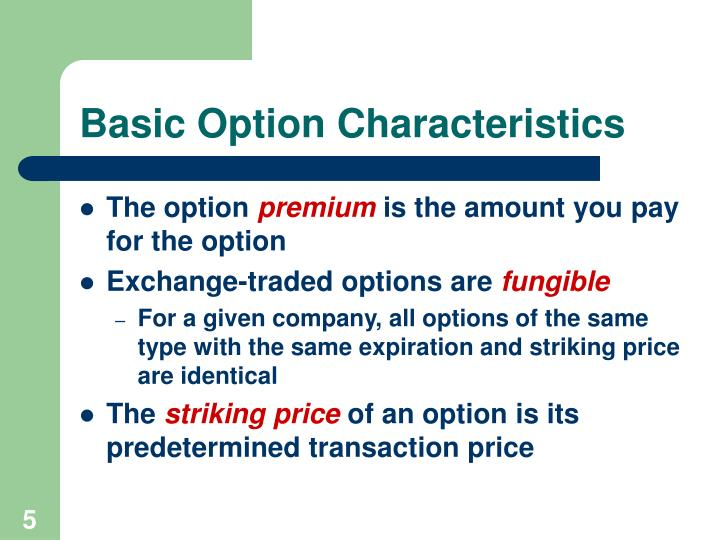 Basic Option Characteristics