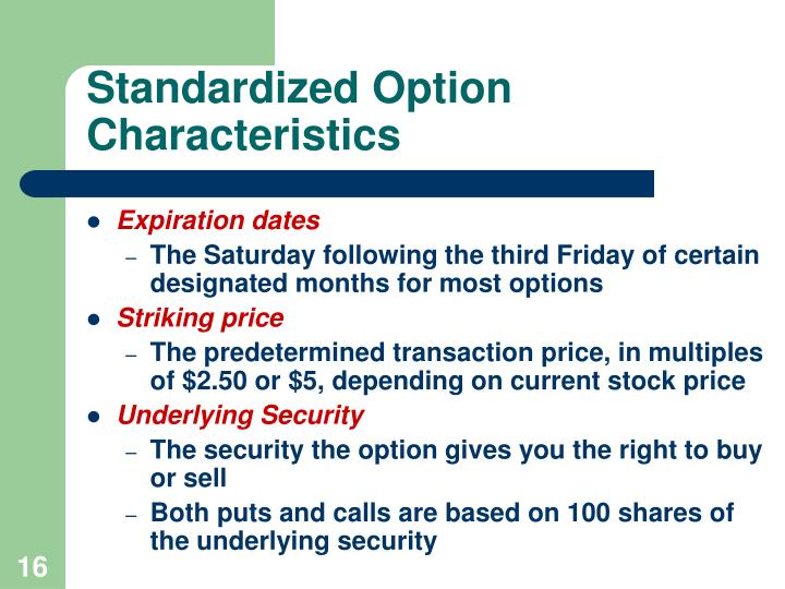 Standardized Option Characteristics
