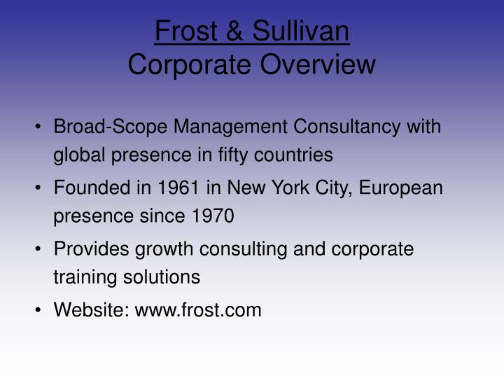 Frost sullivan corporate overview