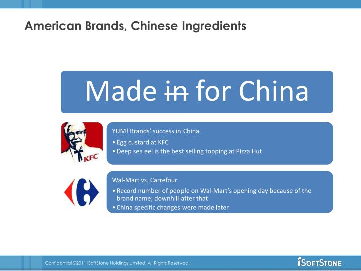 American Brands, Chinese Ingredients