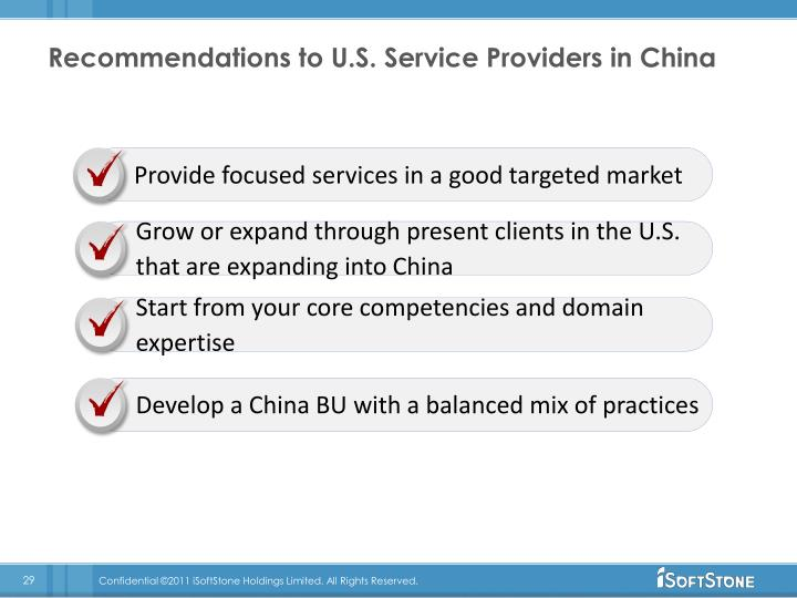 Recommendations to U.S. Service Providers in China