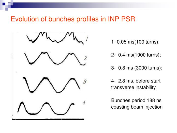 Evolution of bunches profiles in INP PSR