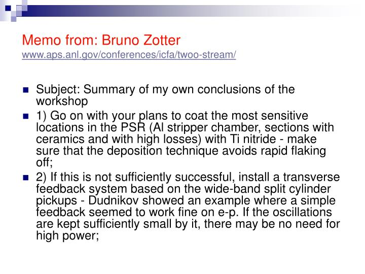 Memo from: Bruno Zotter