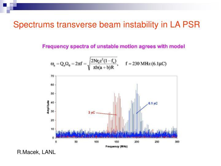 Spectrums transverse beam instability in LA PSR