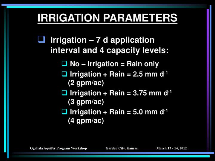IRRIGATION PARAMETERS