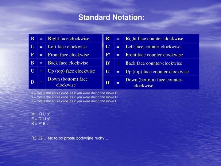Standard Notation: