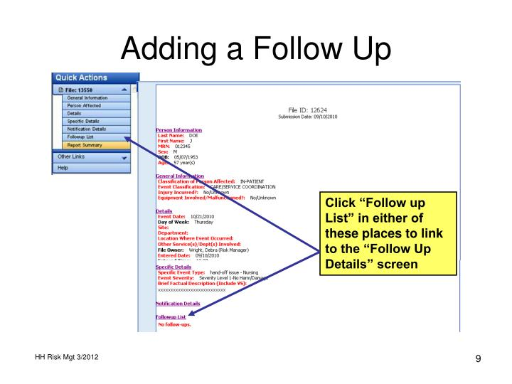 Adding a Follow Up