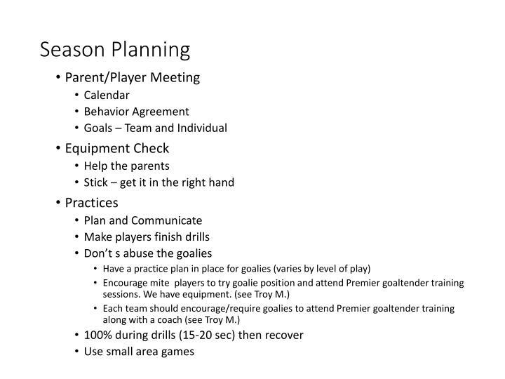 Season Planning