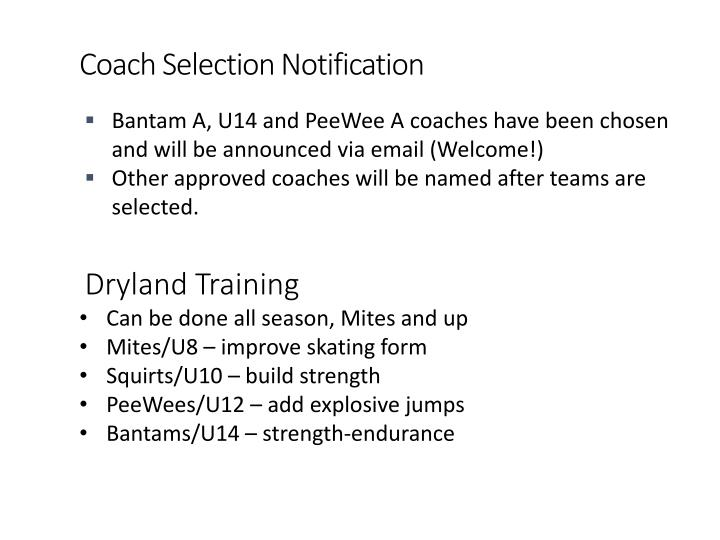 Coach Selection Notification
