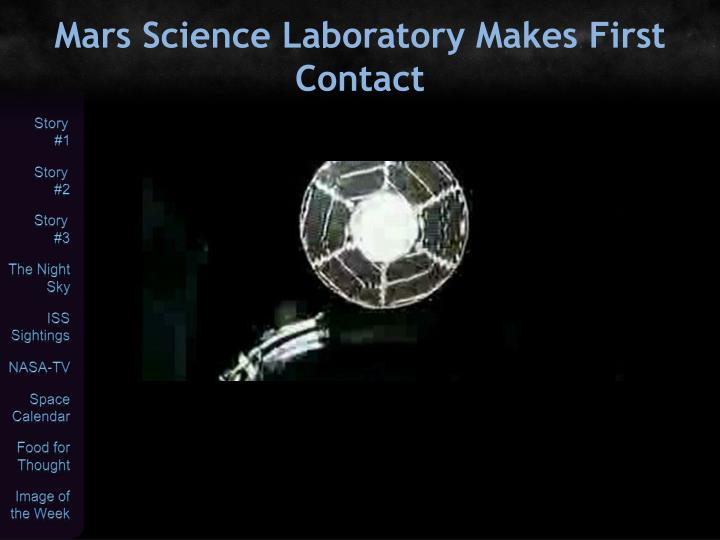 Mars Science Laboratory Makes First Contact