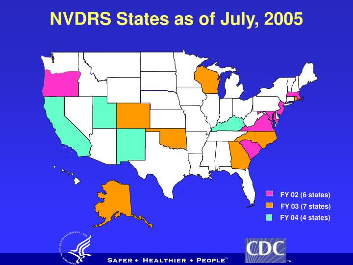 NVDRS States as of July, 2005
