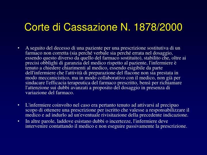 Corte di Cassazione N. 1878/2000
