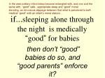 if sleeping alone through the night is medically good for babies