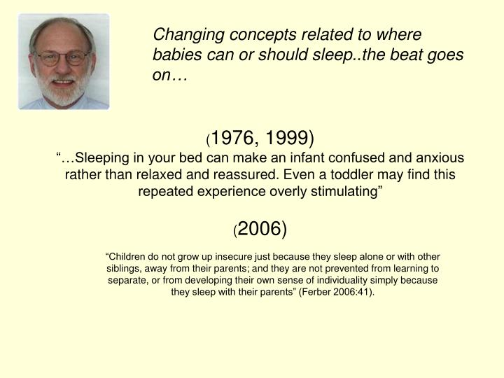 Changing concepts related to where babies can or should sleep..the beat goes on…