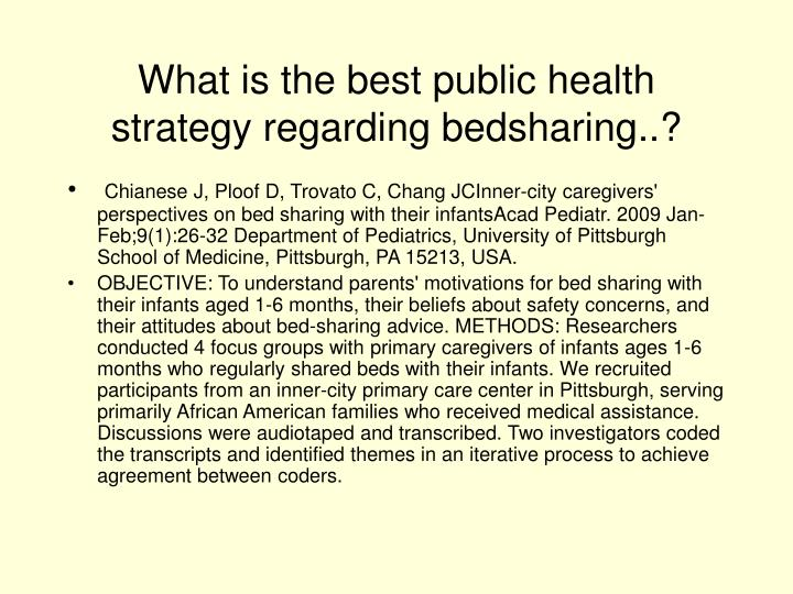 What is the best public health strategy regarding bedsharing..?