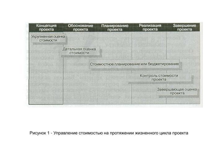 Рисунок 1 - Управление стоимостью на протяжении жизненного цикла проекта