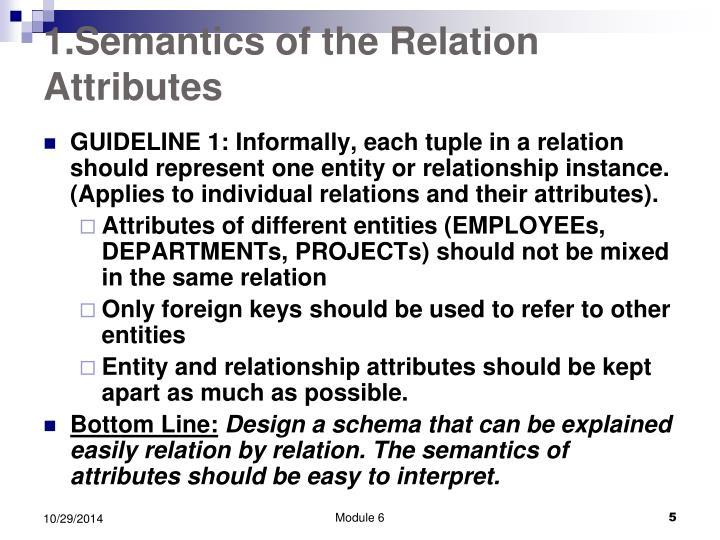 1.Semantics of the Relation Attributes