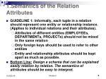 1 semantics of the relation attributes