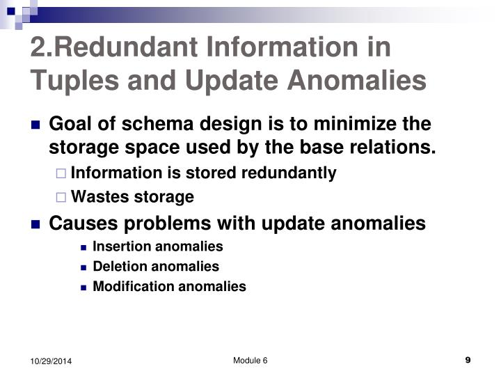 2.Redundant Information in Tuples and Update Anomalies