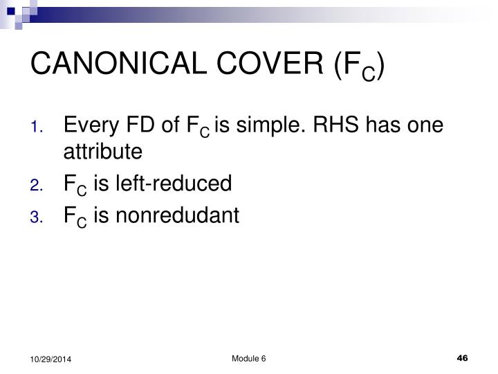CANONICAL COVER (F