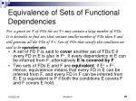equivalence of sets of functional dependencies