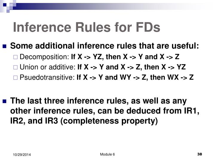 Inference Rules for FDs