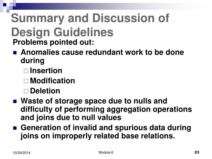 Summary and Discussion of Design Guidelines