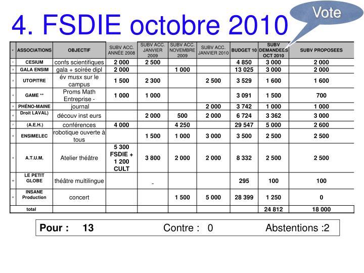 4. FSDIE octobre 2010