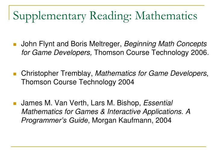 Supplementary Reading: Mathematics