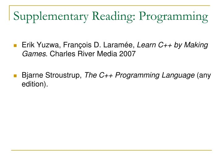 Supplementary Reading: Programming