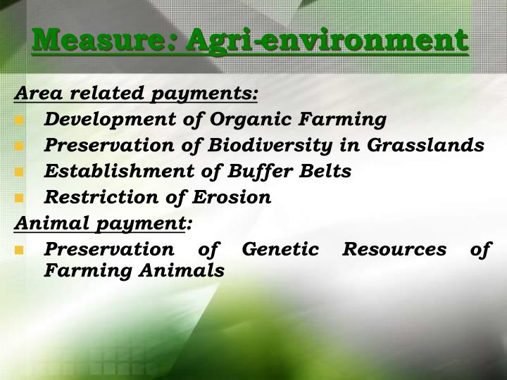 Measure agri environment