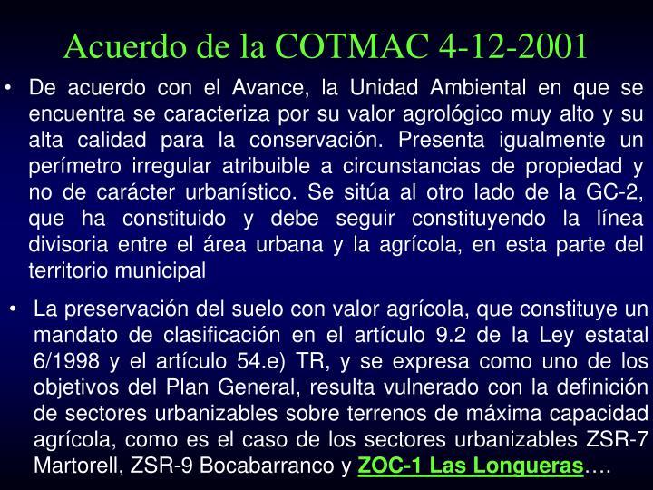 Acuerdo de la COTMAC 4-12-2001