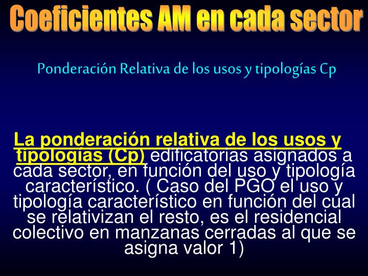 Coeficientes AM en cada sector