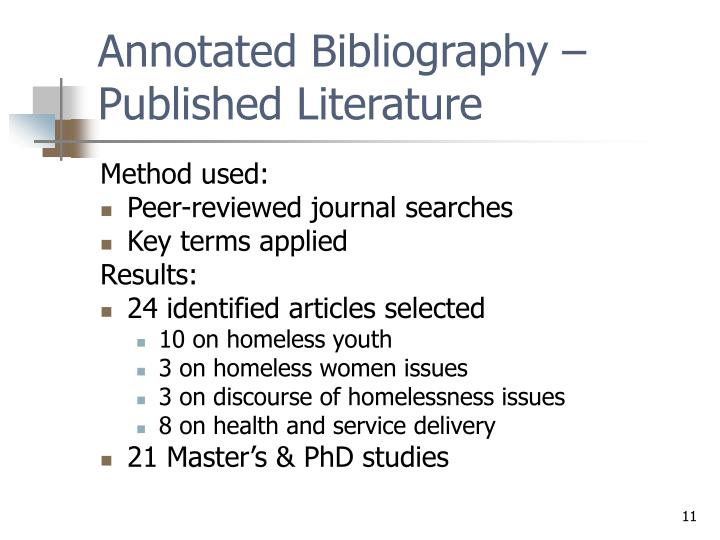 Annotated Bibliography – Published Literature