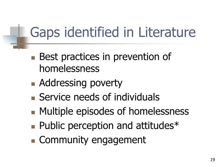 Gaps identified in Literature