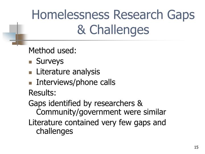 Homelessness Research Gaps & Challenges