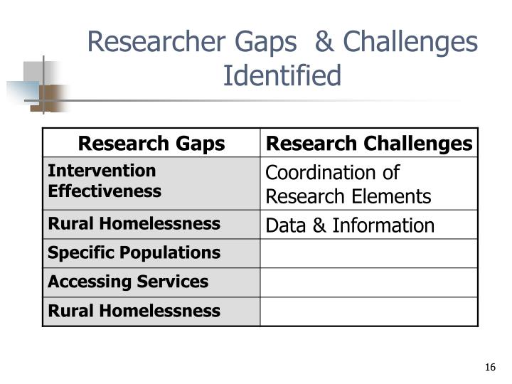 Researcher Gaps  & Challenges Identified