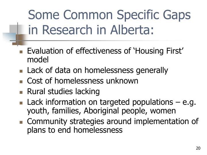 Some Common Specific Gaps in Research in Alberta: