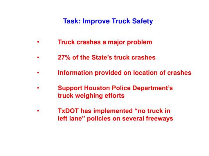 Task: Improve Truck Safety