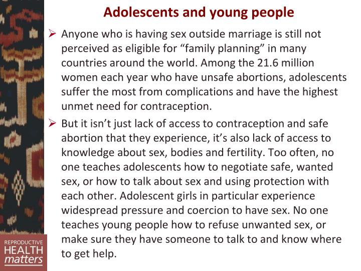 Adolescents and young people