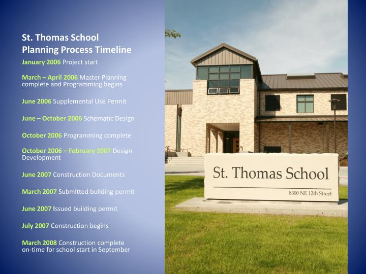 St. Thomas School Planning Process Timeline
