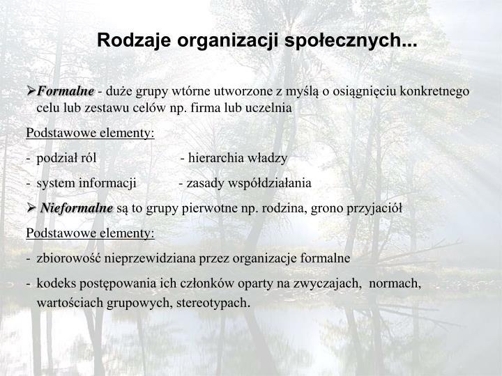 Rodzaje organizacji społecznych
