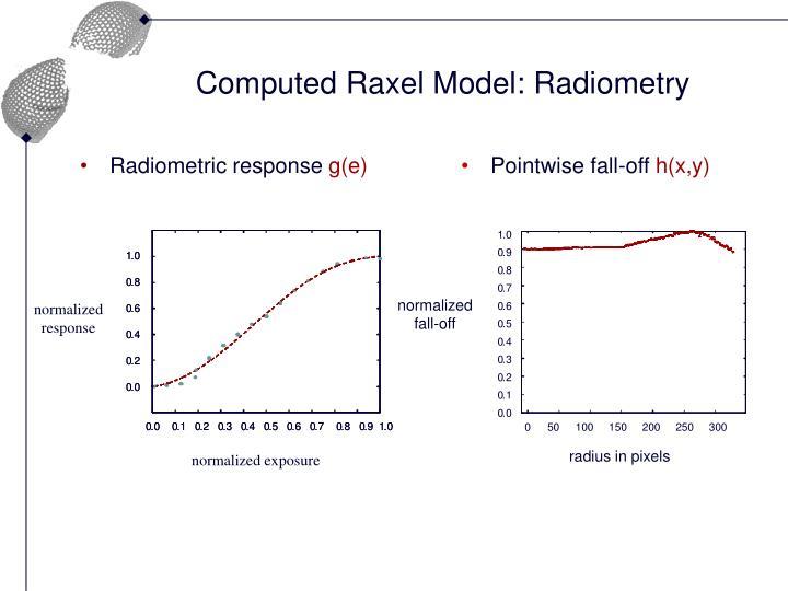 Computed Raxel Model: Radiometry