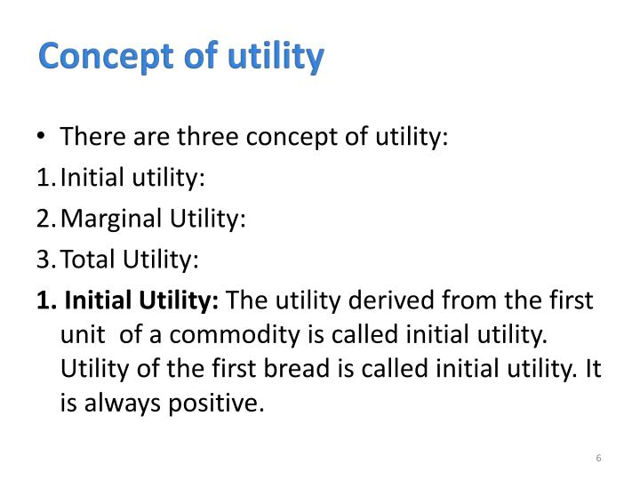 Concept of utility