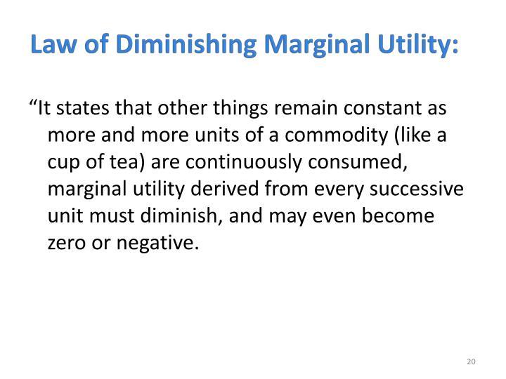 Law of Diminishing Marginal Utility: