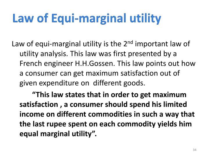 Law of Equi-marginal utility