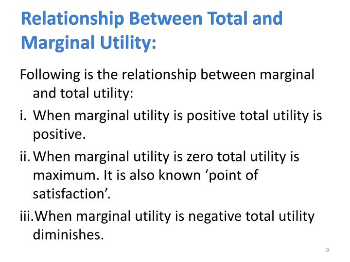 Relationship Between Total and Marginal Utility: